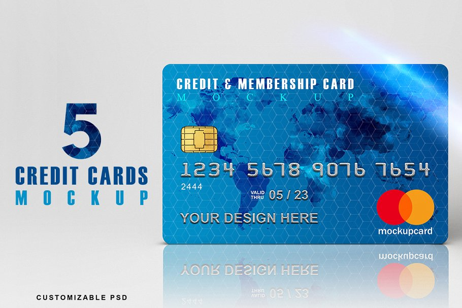5 Credit Cards Mockup PSD