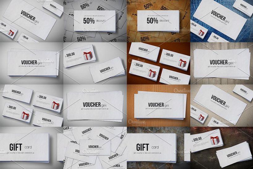 9 Unique Voucher Mockup PSD Templates