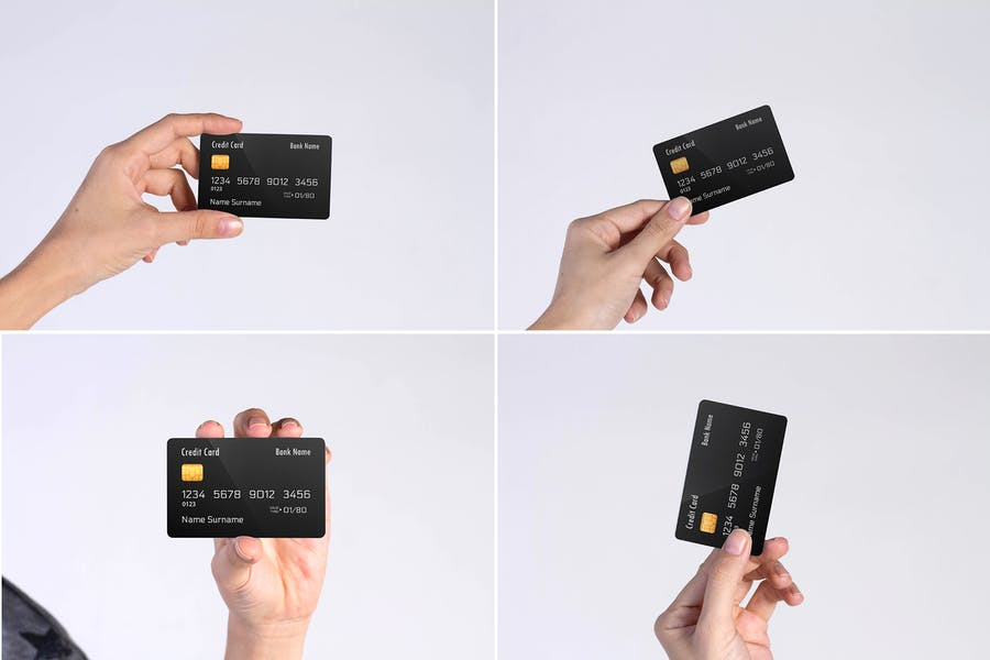 Credit Cards in Hand Mockup PSD