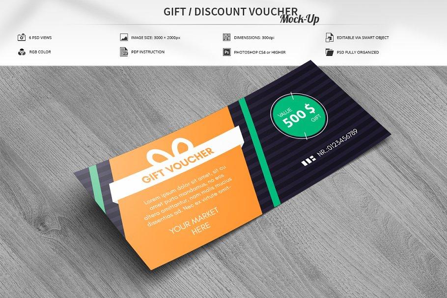 Editable Discount Voucher Mockup