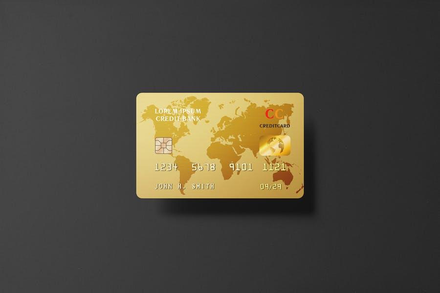 Golden Credit Card Mockup PSD