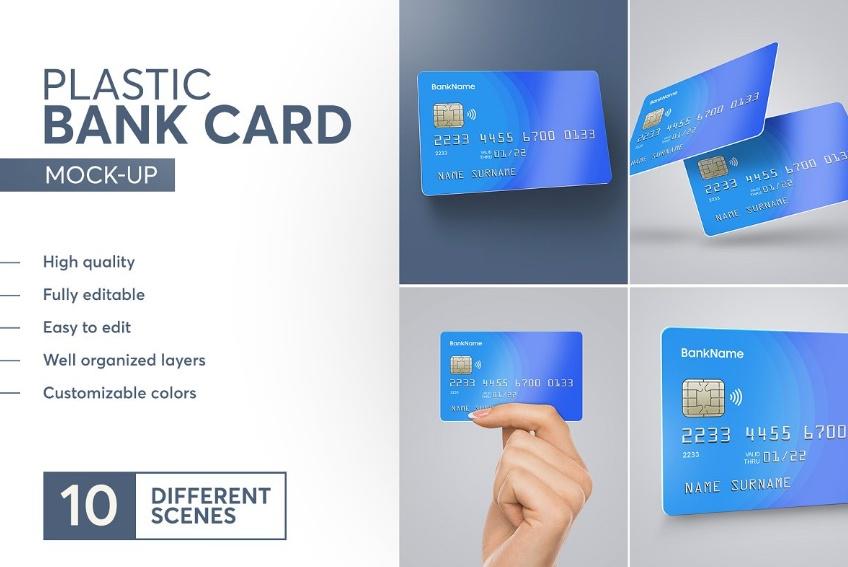 Plastic Credit Card Mockup PSD