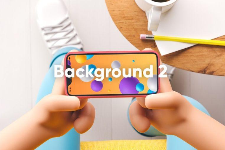 App Screen in Cartoon Hands Mockup