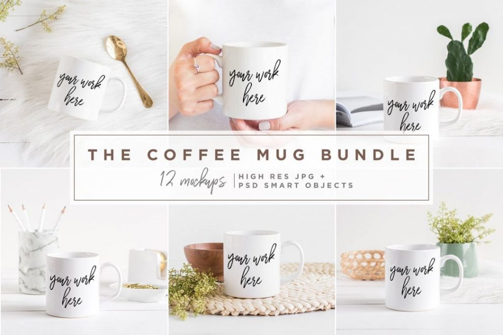 12 Coffee Cups Mockup Bundle PSD