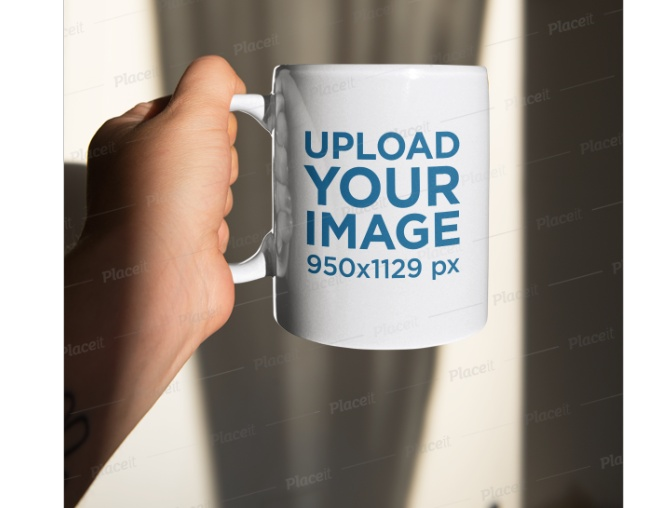 Man Holding Coffee Mug Mockup PSD