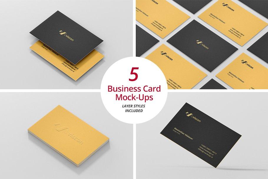 5 Business Card Mockups Set