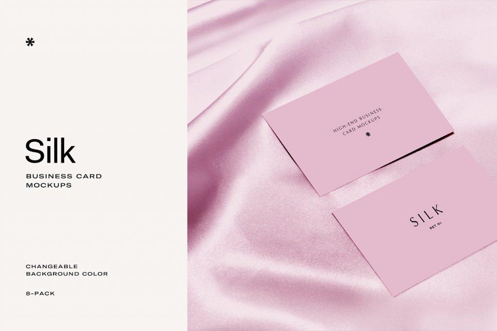 Business Card on Silk Mockup