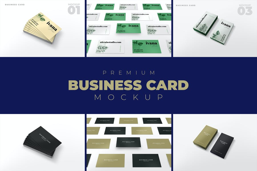 Multiple Perspective Business Card Mockup