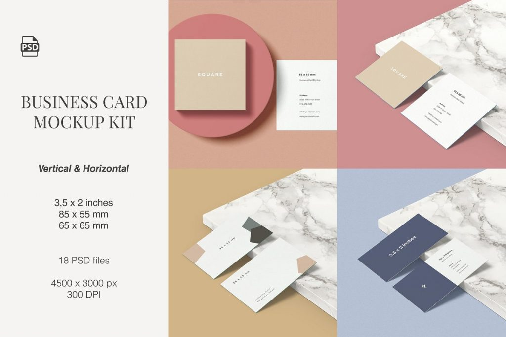 Vertical and Horizontal Business Card Mockup