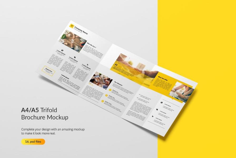 A4 A5 Tri Fold Brochure Mockup