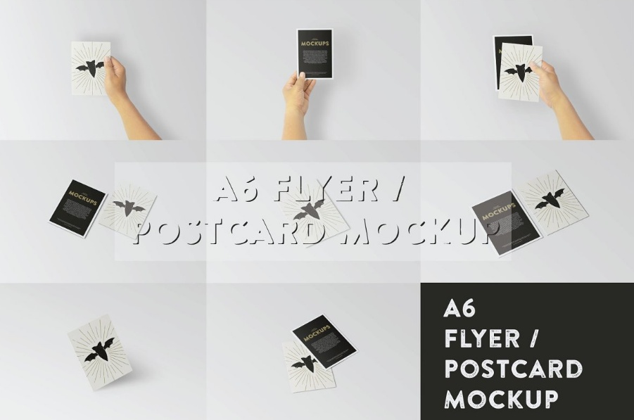 A6 Flyer in Hand Mockup PSD