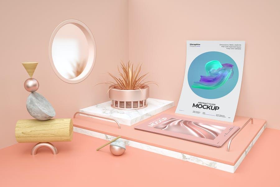 Abstract Flyer Mockup PSD