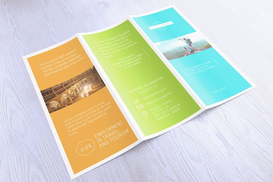Glossy Tri Fold Brochure Mockup