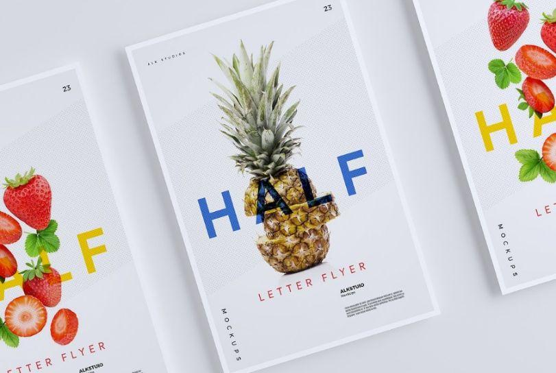 Half Letter Flyer Mockup PSD