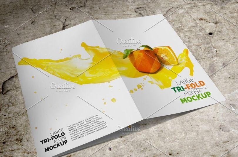 Large Tri Fold Brochure Mockup
