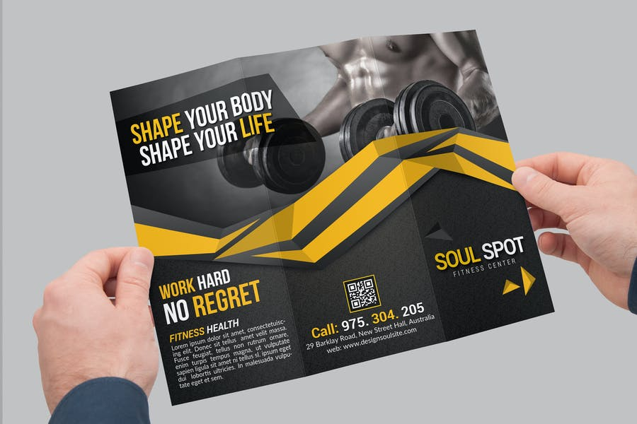 Tri Fold Brochure in Hand Mockup