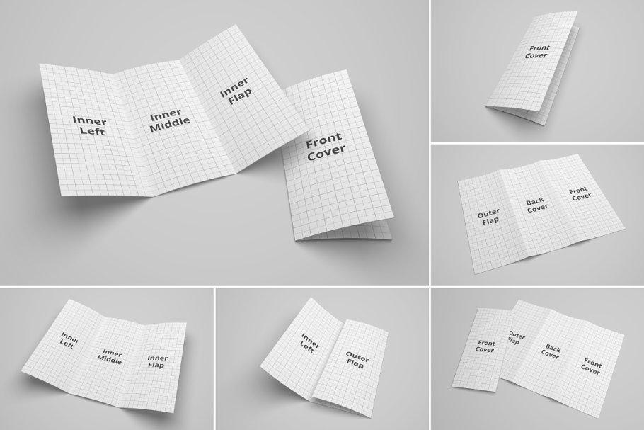 Tri Fold Brochure mockup Set