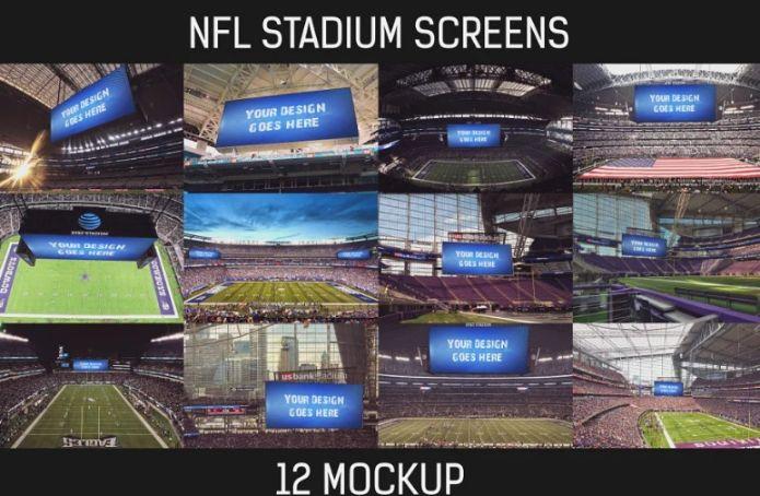 12 NFL Stadium Ad Mockup PSD