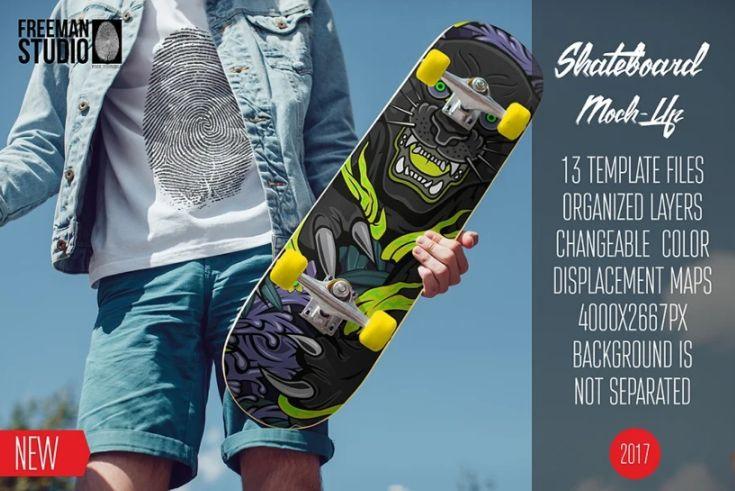 13 Layered Skateboard Mockup PSD