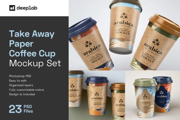 23 Take Away Paper Cup Mockup Set