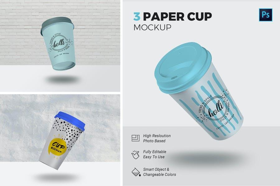 3 Editable Paper Cup Mockups