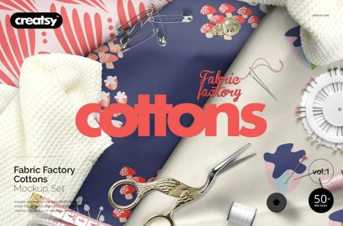 30 Cotton Fabrics Mockup PSD