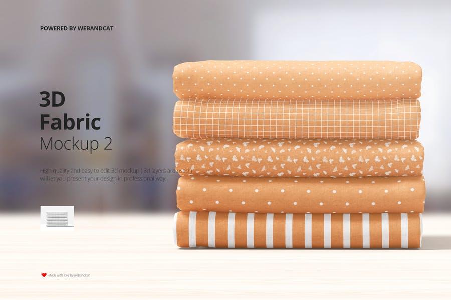 3D Cotton Fabrics Mockup PSD