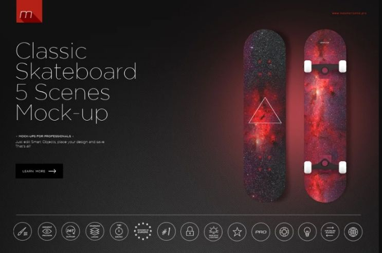 5 Classic Skateboard Mockups