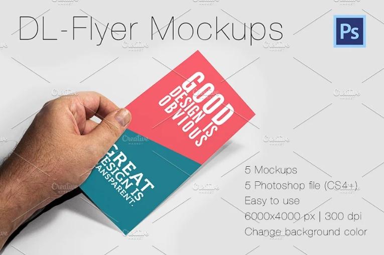5 DL Flyers Mockup