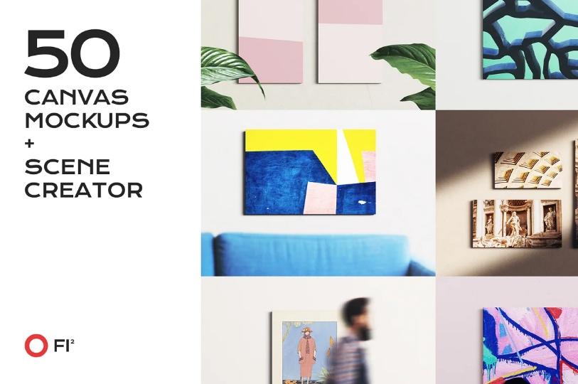 50 Canvas Mockups and Scene Creator