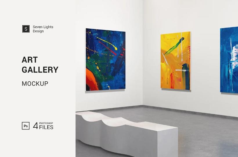 Art Gallery Mockup PSD