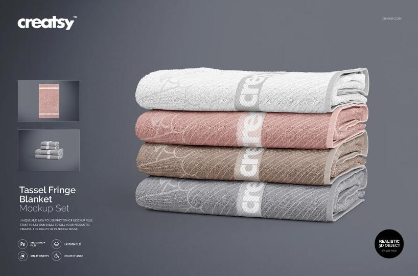 Bath Towel Stack Mockup