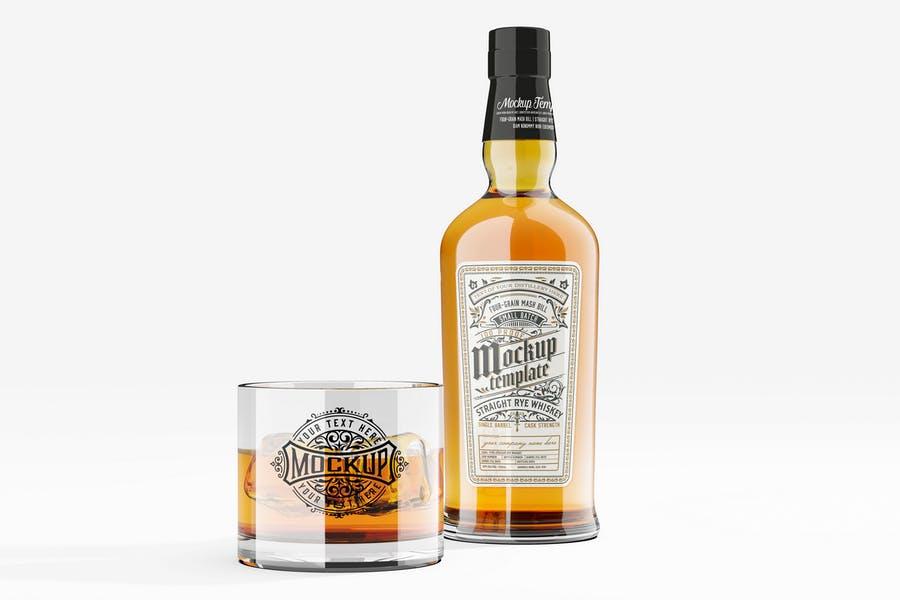 Bottle and Glass Branding Mockup