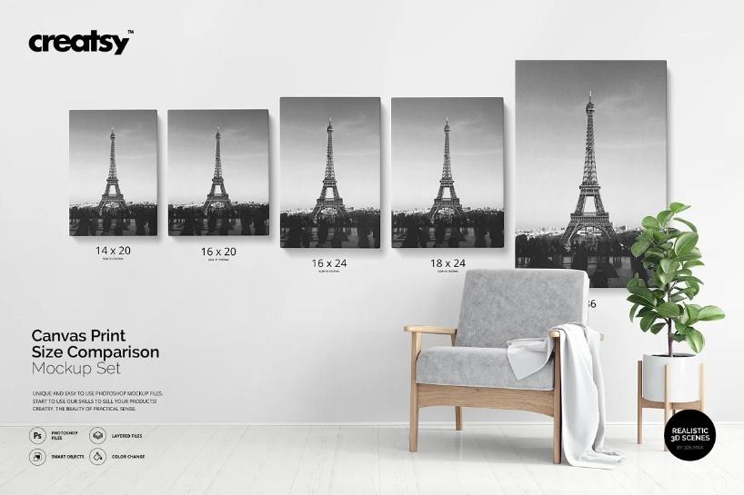 Canvas Print Size Mockup