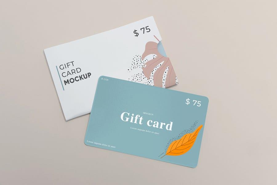 Clean Gift Card Mockup PSD