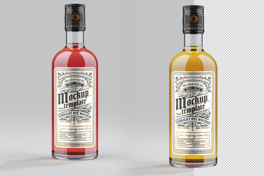 Clean Whiskey Bottle Mockup PSD