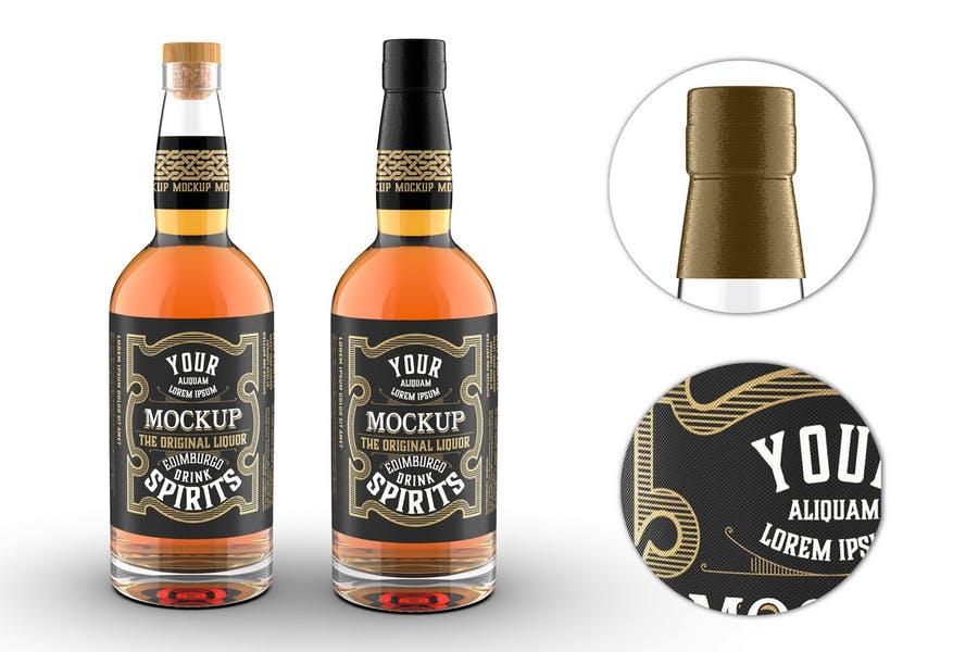 Clear Whiskey Bottle Mockups