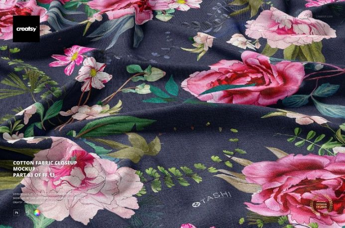 Cotton Fabric Close Up Mockup PSD