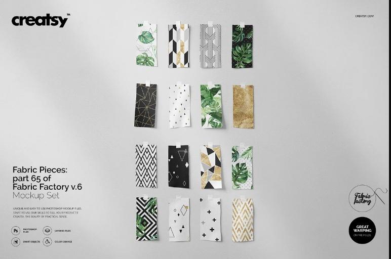 Creative Fabric Pieces Mockup PSD