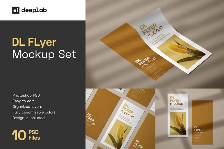 Customizable DL Flyer Mockups Set