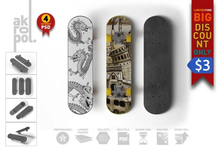 Easy Editable Skateboard Mockup