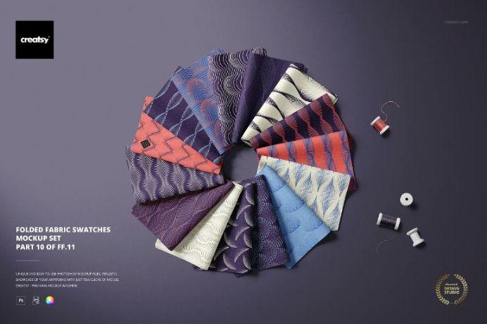 Folded Fabric Swatches Mockup Set