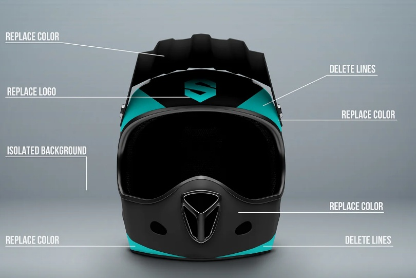 Front Side Helmet Mockup PSD