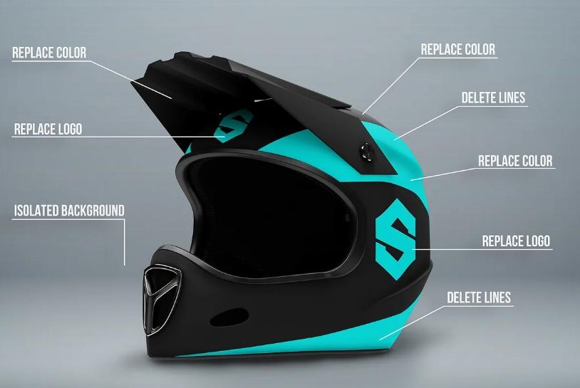 Full Face Motorcycle Helmet Mockup