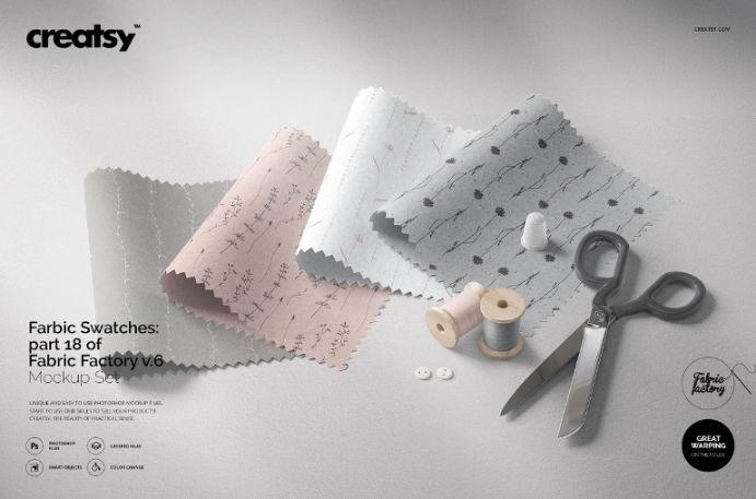 Fully Customizable Fabric Swatches Mockup Set