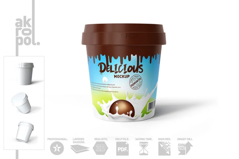 Fully Editable Ice Cream Box Mockup