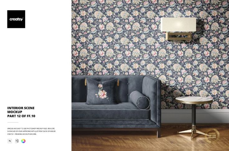 Fully Editable Interior Scene PSD Mockup