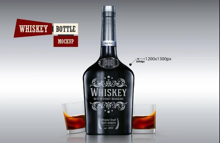 Fully Editable Whiskey Bottle Mockup