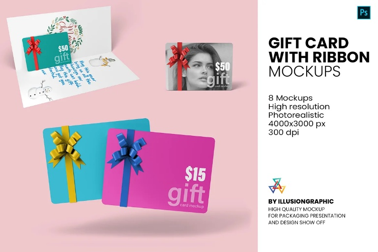 Gift Card  With Ribbon Mockup PSD