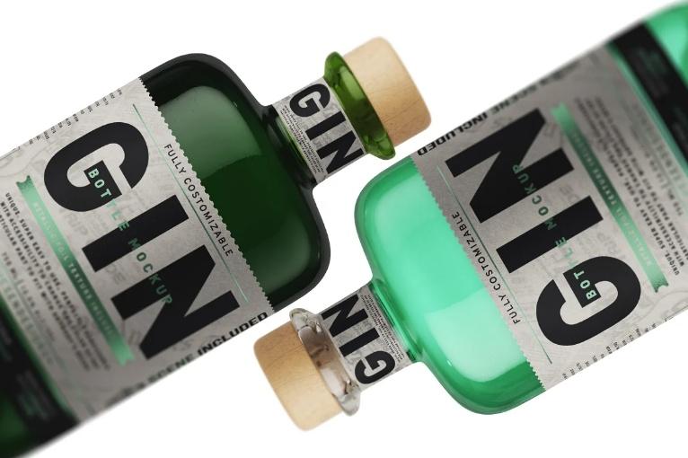 Gin Bottle Mockup PSD